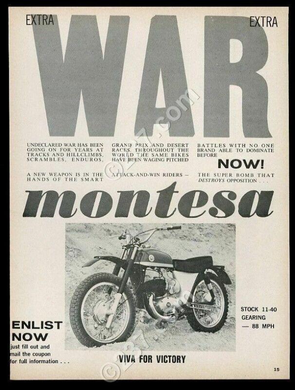 1965 Montesa Viva motorcycle photo vintage print ad