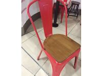 6 Red custom built bistro chairs with wooden seats