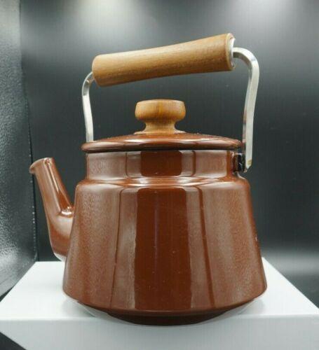 Vintage Dansk Kobenstyle Wooden Handle Enamel Teapot Tea Kettle Camping