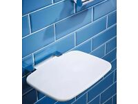 Heavy duty type shower seat is supplied in durable thermoset plastic material.