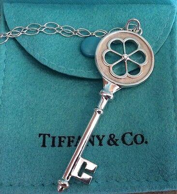 TIFFANY & Co. Sterling Silver Diamond Blossom Heart Key Charm Pendant Necklace