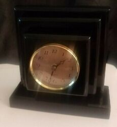 Contemporary Modern Mid Century Lucite clock VAN TEAL German KIENZLE Quartz NICE