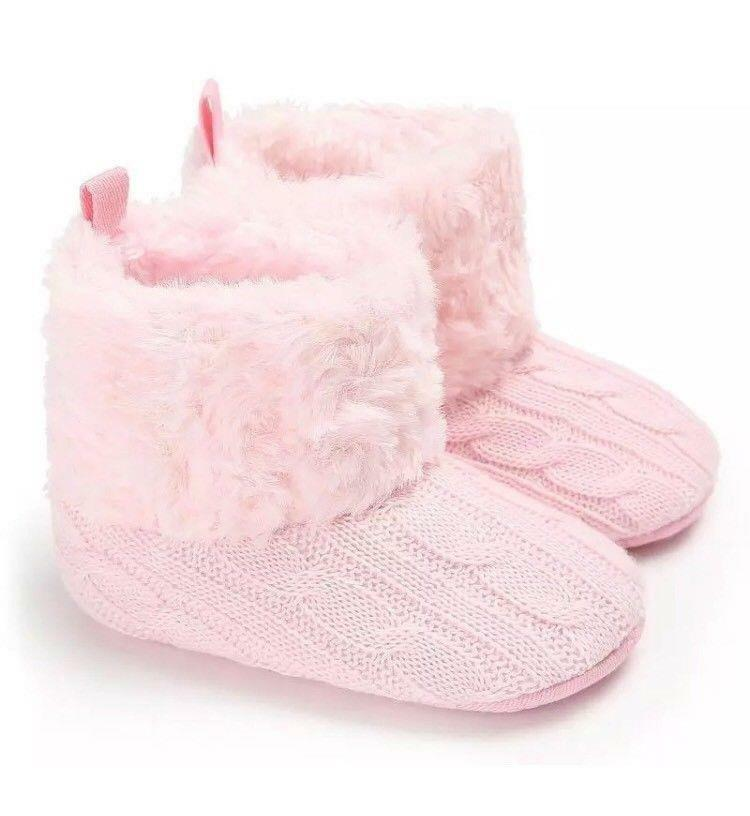 Pink Knitted Faux Fur Winter Boots Crib Baby Infant Girl New 0/6M Light Pink