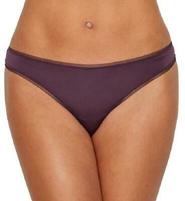 DKNY Women's Litewear Low-Rise Mesh Trim Thong Panty, Eggplant Purple - Large Mesh Low Rise Thong Panty