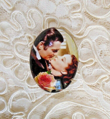 Gone With The Wind 30X40mm Glitter Unset Handmade Glass Art Bubble Cameo Cab