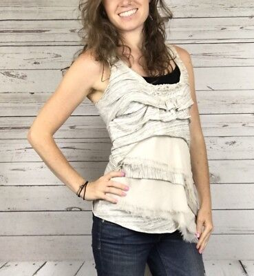 Anthropologie C. Keer Women's Beige & Cream Tiered Ruffle Tank Top Size Small