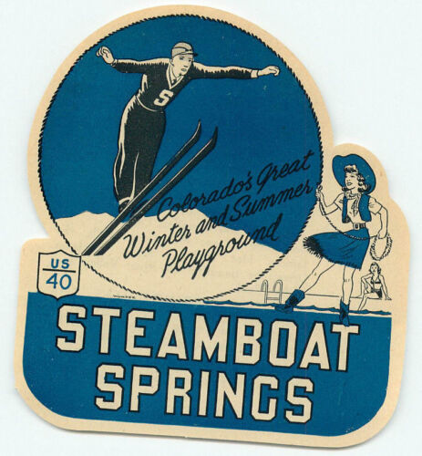STEAMBOAT SPRINGS COLORADO SKI JUMP COWGIRL VINTAGE ART DECO  LUGGAGE LABEL