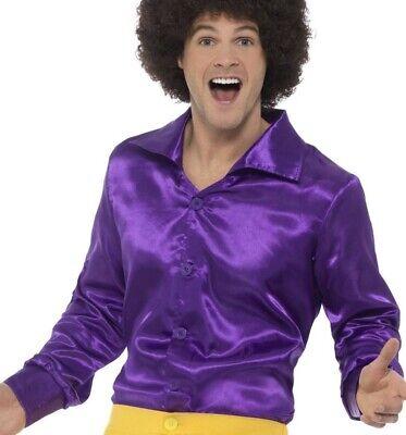 Herren 1970s 70er Jahre Disco Glänzend Shirt Kostüm Lila 1960er 60er von - 1960 Disco Kostüm