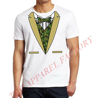 Digital Camo Tuxedo Costume White T shirt Outfit Funny Army Military Suit Tee - Funny Army Costume