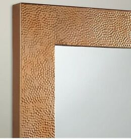 John Lewis Square Copper Hammered Industrial Style Mirror NEW 61 cm x 61 cm