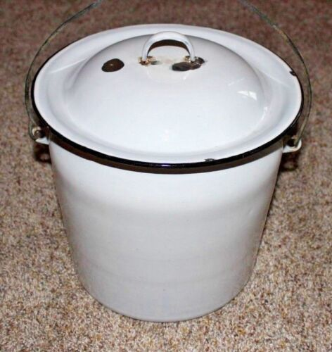 Vintage White Enamel Black Trim Pail Chamber Pot Lid Wooden Bail Handle