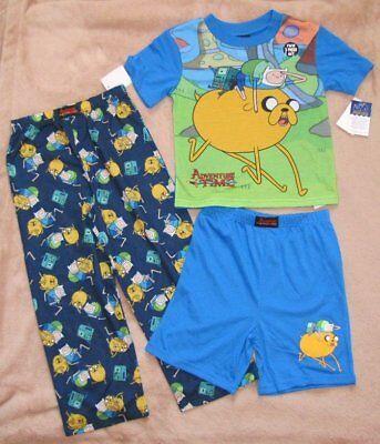 Adventure Time Jake Pajamas (ADVENTURE TIME *Jake & Finn* Blue 3pc S/S Shirt Pajamas Pjs Boys sz)