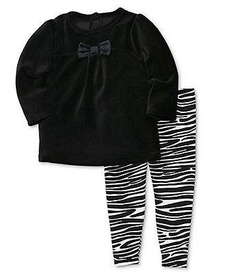 NEW Carter's Girls' 2-Piece Black Velour Shirt & Zebra Print Stretch Pants - Zebra Girls