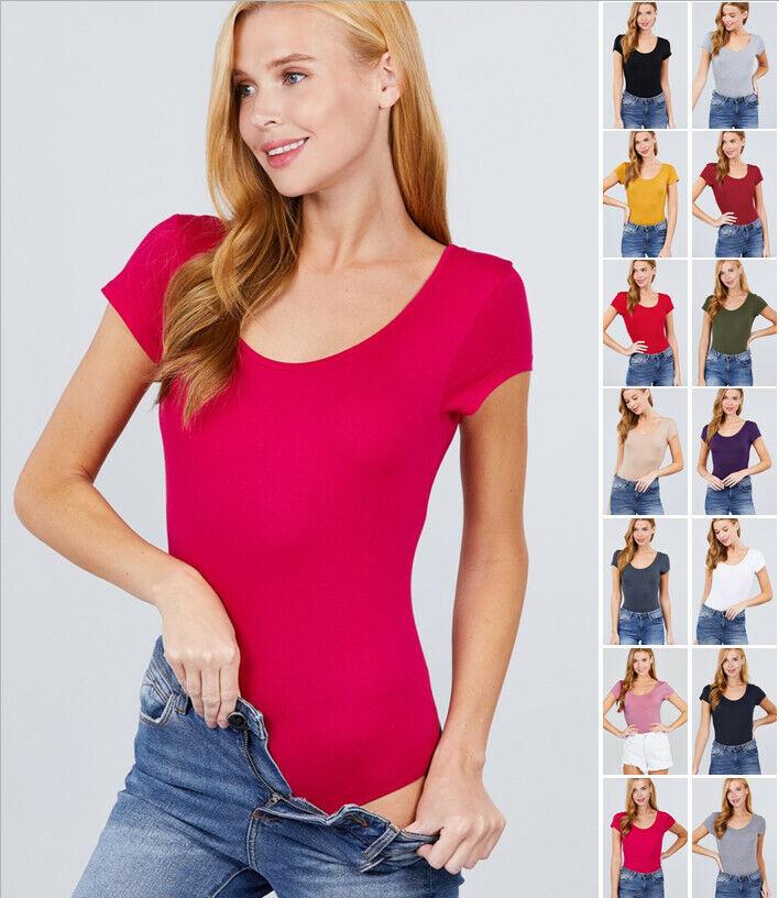 Women's Soft Basic Short Sleeve Scoop Neck Bodysuit Clothing, Shoes & Accessories