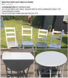 Upcycled drop leat table and 4 chairs