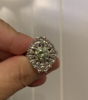 Sterling Silver Moissanite Cocktail Engagement Vintage Ring Sz 8 Moissanite Vintage Ring
