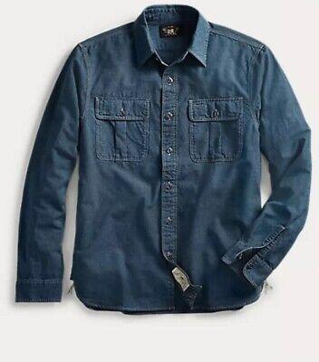 $265 RRL Indigo Chambray Work shirt XL Button Up Denim Ralph Lauren
