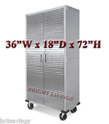Ultra Heavy Duty Garage Metal Storage File Rolling Cabinet Stainless Steel Doors