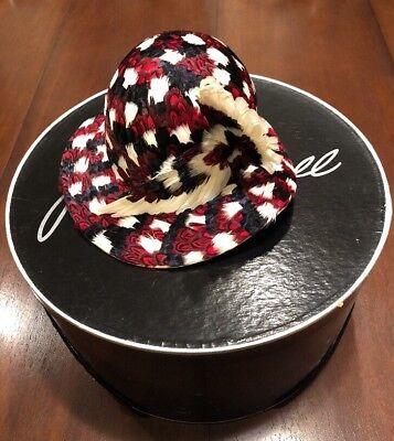 JACK McCONNELL NEW YORK DESIGNER VINTAGE FEATHER HAT RED/ BLACK/IVORY W/ BOX
