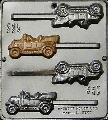 Antique Cars Lollipop Chocolate Candy Mold  224 - Chocolate Cars