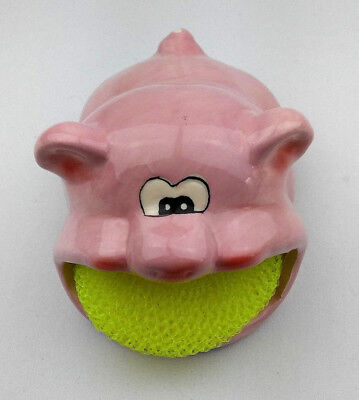 Fun Pig Scrubby Sponge Holder Sink Kitchen Cleaning Soap Dish Painted