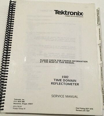 Tektronix 1502 Time Domain Reflectometer Service Manual Pn 070-1792-02