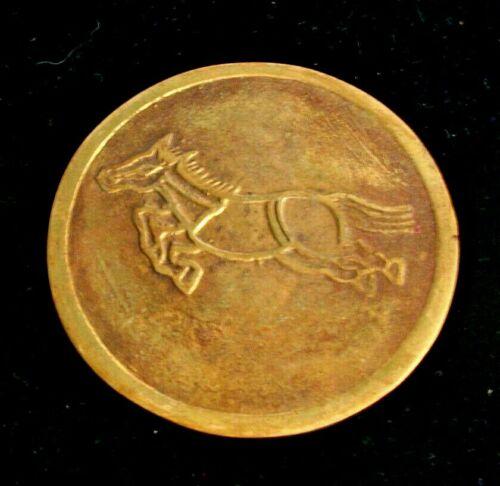"""GOLD Korean Flying Horse Of Gansu Gold Toned Medallion/ Art Decor 3 1/4"""" Korea"""