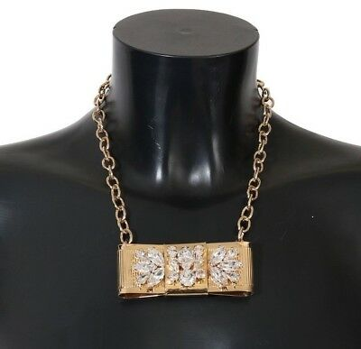 NEW DOLCE & GABBANA Necklace Gold Brass Clear Crystal Bow Chain Choker