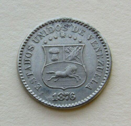 1876 Venezuela 1 Centavo Cent Coin 2-Year Type Y25