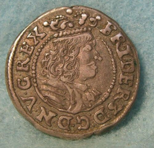 1667 DENMARK FREDERIK III 3 SKILLING CYBSK FOREIGN SILVER COIN SOLID VF-XF #3454