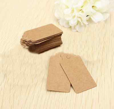 100X Brown Kraft Paper Wedding Party Card Gift Bookmark Label Luggage Blank - Wedding Paper