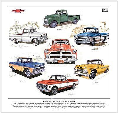 CHEVROLET PICKUPS 1950s-1970s - Fine Art Print - 3100 Apache Cheyenne C10 Cameo