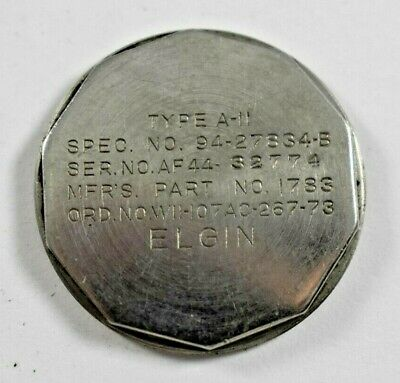 Vintage US Military Elgin Type A-11 Military Wrist Watch Case Screw Back lot.x