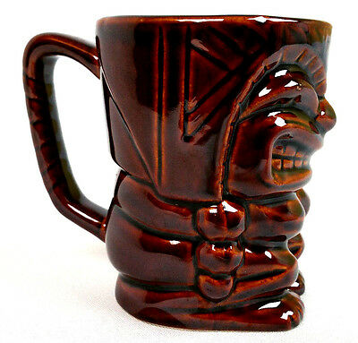 "Brown God CeramicTiki Coffee Mug Cup 4 3/8"" 12 oz Capacity Gently Used Free Ship"