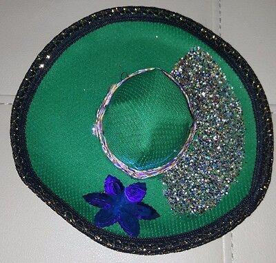 MEXICAN MEXICO GREEN GLITTER MINI HAT SOMBRERO DECORATION SOUVENIR 5