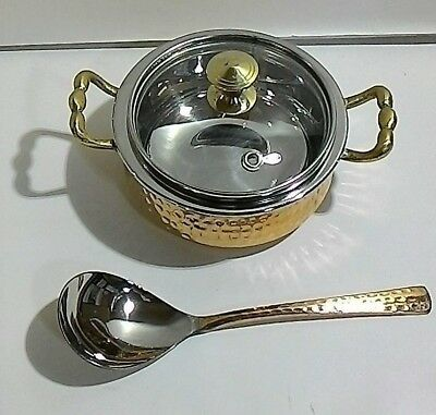 Small Copper Casserole  With Lid And Spoon