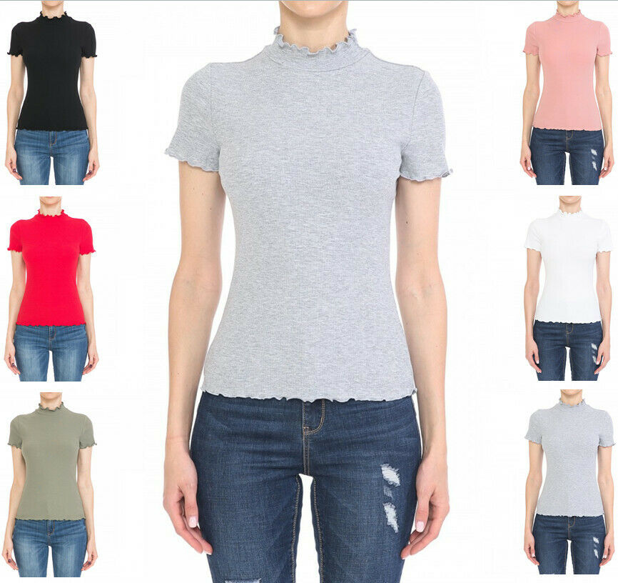 Women's Ribbed Lettuce Mock Neck Short Sleeve Cotton Jersey Top Clothing, Shoes & Accessories