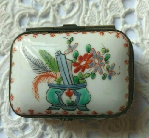Antique French Hinged Porcelain Patch Box - Hand Painted Enamel - Floral