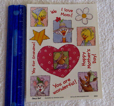 Suzy's Zoo - HAPPY MOTHERS DAY - Sheet of MOTHERS DAY Stickers'