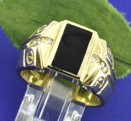 0.15 Ct  Mens Natural Diamond & Onyx Ring 14k Yellow Gold Screw Design Made Usa