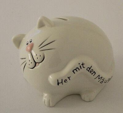 """Hucha Gato de Porcelana con Impresión """"Her con el Mäusen"""" Gusano (11972)"""
