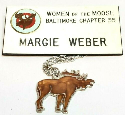 Vintage Women of the Moose WOTM Enameled Moose Pendant Necklace Name Badge