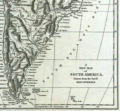 New Map of South America c1794 by Robert Wilkinson original engraved, Amazonia