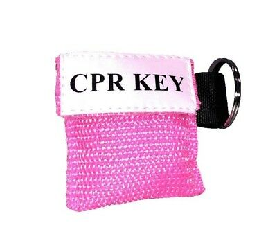 1 Pink Face Shield Cpr Mask In Pocket Keychain - Cpr Key