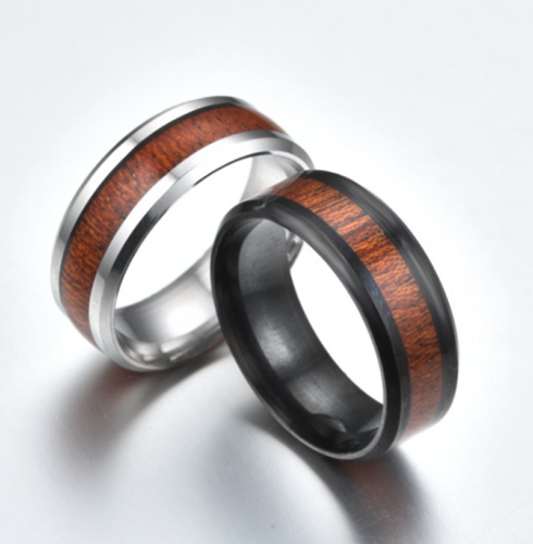 Men's Black/Silver Titanium Stainless Steel Wood Inlaid Couple Band Ring Jewelry