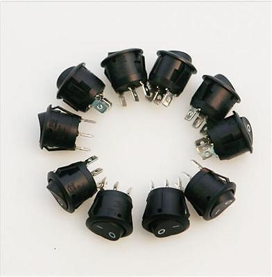 Wisely 10pcs Mini Round Black 3 Pin Spdt On-off Rocker Switch Snap-in Br