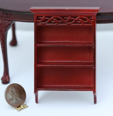 Dollhouse Miniature Hand Carved Mahogany Wall Shelf w/ Crown Molding