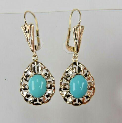 Vintage 10 Karat yellow GOLD  Dangle (Created Turquoise) Earrings