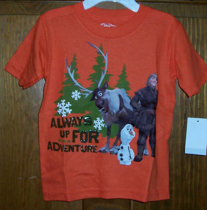 Frozen Disney Olaf Sven Kristoff Orange T Tee SS Shirt Little Boys Size 5/6 $18