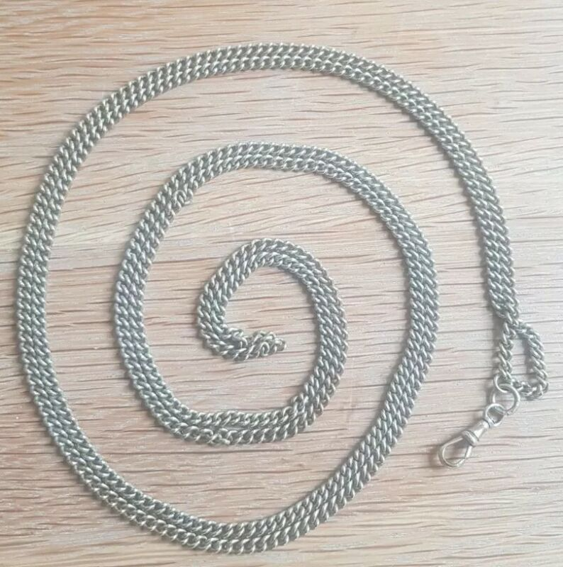 Antique Edwardian Brass Long Guard Chain with Dog Clip 140cm